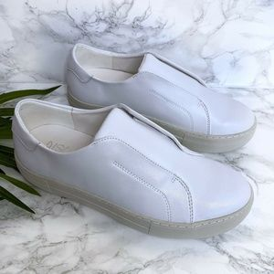 JSlides Alara White Leather Slip On Sneaker 7.5